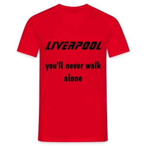 red tee liverpool you'll never walk alone black print - Men's T-Shirt