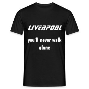 black tee liverpool you'll never walk alone white print - Men's T-Shirt