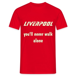 red tee liverpool you'll never walk alone glow print - Men's T-Shirt