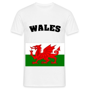white tee wales flag with wales black print - Men's T-Shirt