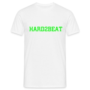 white tee hard2beat neon green print - Men's T-Shirt