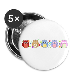 Cute Owls and flowers - Buttons medium 32 mm