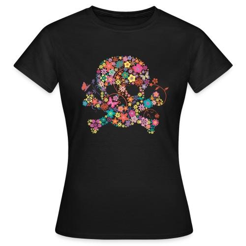 T-shirt tête de mort fleurs - T-shirt Femme