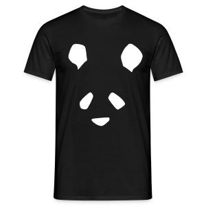 Simple Panda Flock Print T-Shirt - White on Black - Men's T-Shirt