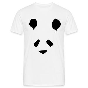 Simple Panda Flock Print T-Shirt - Black on White - Men's T-Shirt