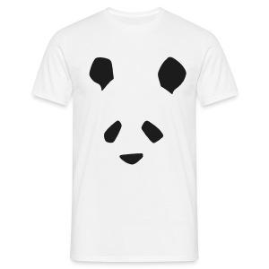 Simple Panda Glitter Print T-Shirt - Black Glitter on White - Men's T-Shirt