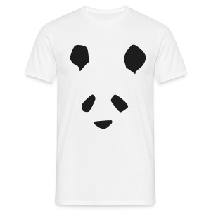 Simple Panda Glitter Print T-Shirt - Black Glitter on White - Men's T-Shirt