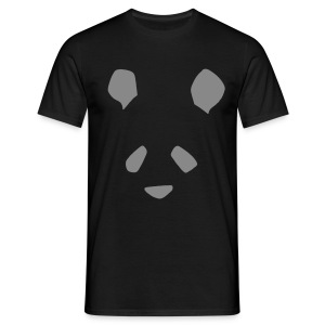 Simple Panda Glitter Print T-Shirt - Silver Glitter on Black - Men's T-Shirt