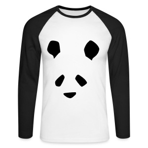 Simple Panda Mens Long Sleeve T-Shirt - Black on White - Men's Long Sleeve Baseball T-Shirt