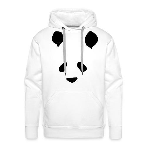 Simple Panda Mens Hoodie - Black on White - Men's Premium Hoodie