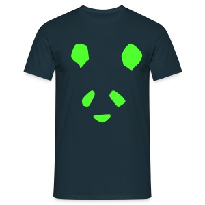 Simple Panda LIMITED EDITION Flock Print T-Shirt - Green on Navy - Men's T-Shirt