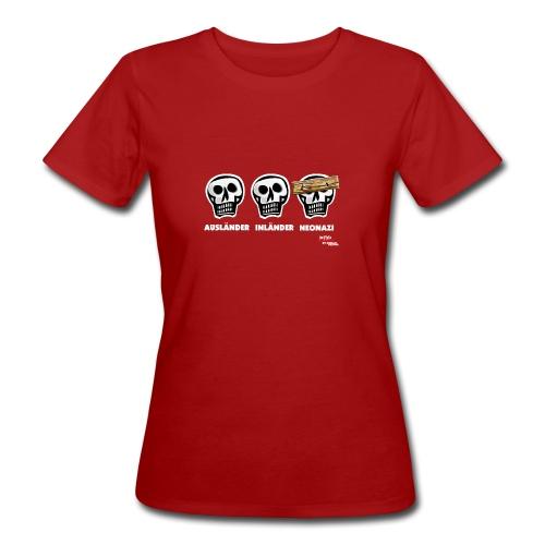 Frauen Bio-T-Shirt - Alle Schädel sind gleich! Ach nee, einige haben ein dickes Brett vor dem Kopf. Das sind dann wohl diejenigen, die bei der braunen Brut angeheuert haben, um sich besser zu fühlen. Tja, klarer Fall von gemeingefährlichem Holzweg!