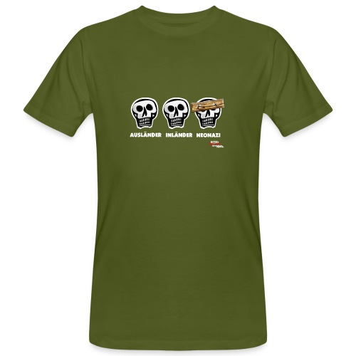 Männer Bio-T-Shirt - Alle Schädel sind gleich! Ach nee, einige haben ein dickes Brett vor dem Kopf. Das sind dann wohl diejenigen, die bei der braunen Brut angeheuert haben, um sich besser zu fühlen. Tja, klarer Fall von gemeingefährlichem Holzweg!