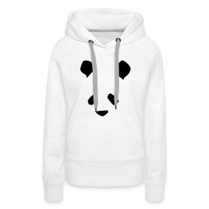 Simple Panda Womens Hoodie - Black on White - Women's Premium Hoodie