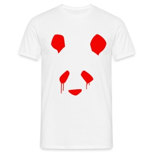 Simple Crying Panda Flock Print T-Shirt - Red on White - Men's T-Shirt