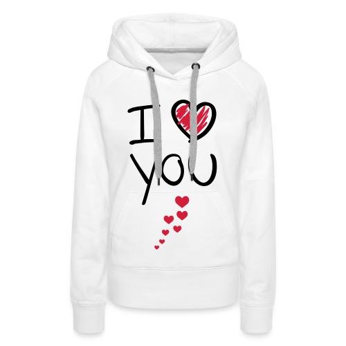 i ♥ you vest, zwarten letters. - Vrouwen Premium hoodie