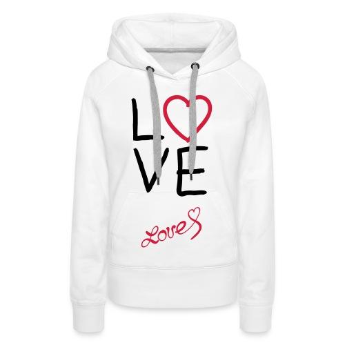 love vest, zwarten letters. - Vrouwen Premium hoodie