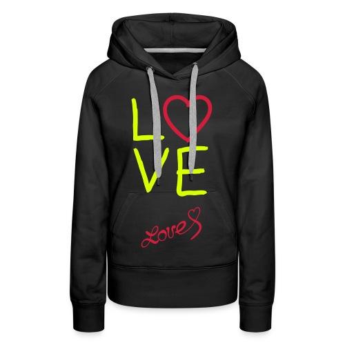 love vest, gelen letters. - Vrouwen Premium hoodie