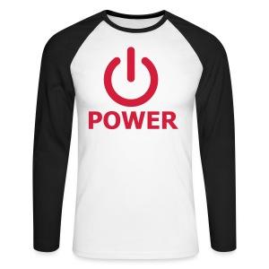Power button - Mannen baseballshirt lange mouw