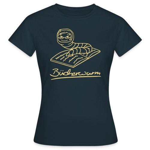 Motiv: Bücherwurm | Druck: beige | verschiedene Farben - Frauen T-Shirt