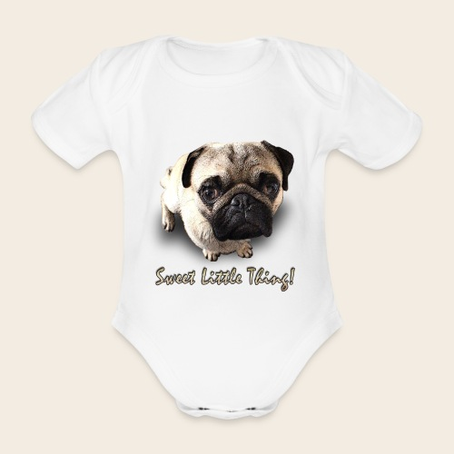 Mops Baby-Body Sweet Little Thing - Baby Bio-Kurzarm-Body