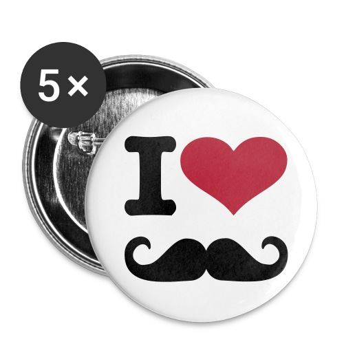 I Love Mustache Button - Buttons groot 56 mm