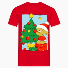 Christmas Bear decorating Christmas tree T-Shirts