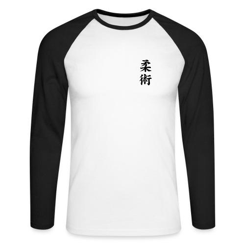Tweekleurig T-shirt met Jiu-Jitsu (kanjii) - Mannen baseballshirt lange mouw