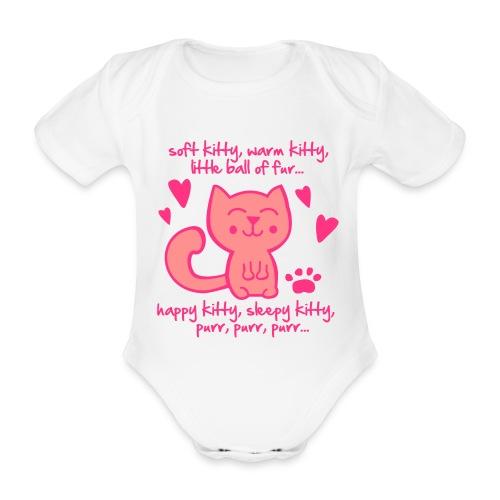 Soft Kitty, Warm Kitty, Little ball of fur... - Organic Short-sleeved Baby Bodysuit