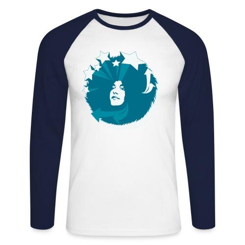 Longsleeve Baseballshirt Funky Girl Frontprint - Männer Baseballshirt langarm