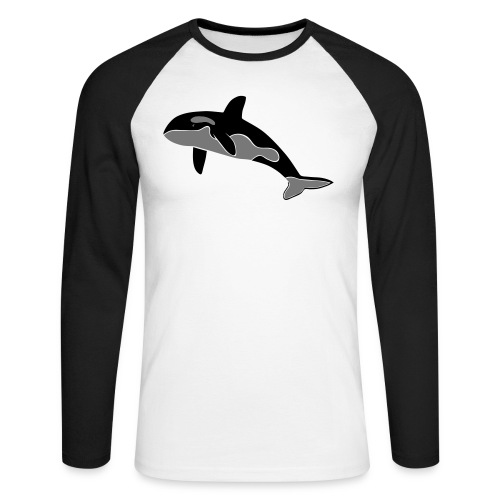tier t-shirt orca orka wal killer whale delphin dolphin delfin shark hai - Männer Baseballshirt langarm