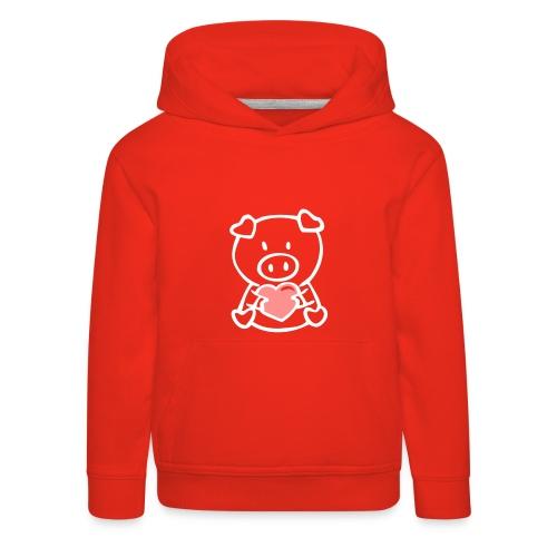 Kinder Meisjessweater: varkentje - Kinderen trui Premium met capuchon