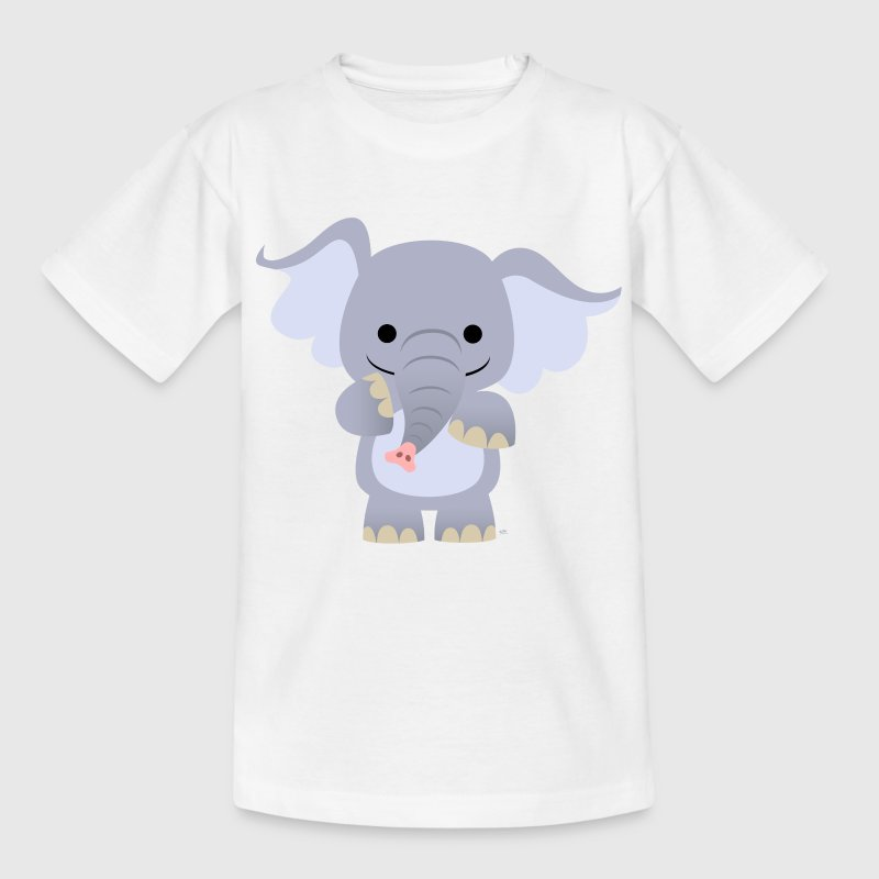 White Cute Cartoon Baby Elephant Kid's Shirts  - Teenage T-shirt