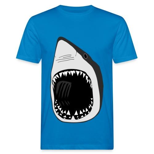tier t-shirt weisse hai wal shark jaws zähne monster tauchen taucher fisch - Männer Bio-T-Shirt