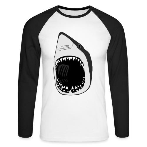 tier t-shirt weisse hai wal shark jaws zähne monster tauchen taucher fisch - Männer Baseballshirt langarm