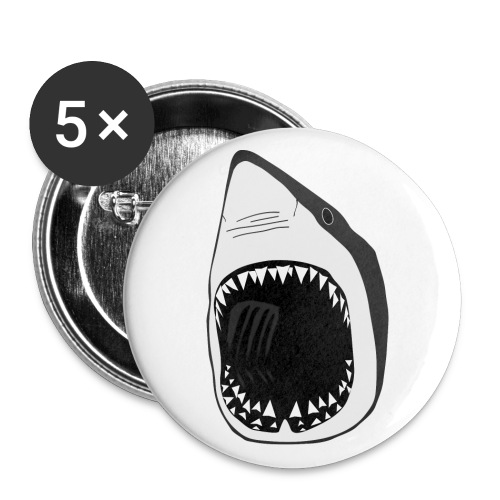 tier t-shirt button weisse hai wal shark jaws zähne monster tauchen taucher fisch - Buttons groß 56 mm (5er Pack)