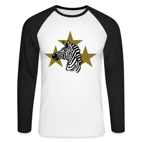 zebra a 3 stelle - Maglia da baseball a manica lunga da uomo
