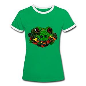 vrouwen T-shirt met kikker - Vrouwen contrastshirt