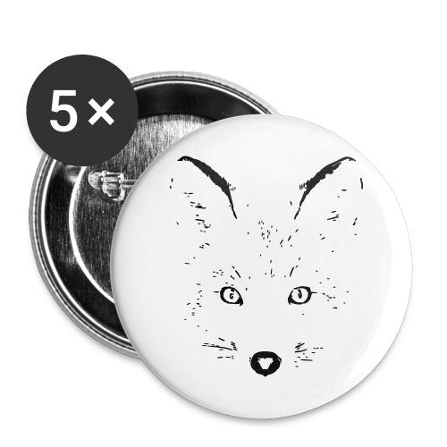 tier t-shirt fuchs fox fuchsig katze augen silhouette sketch - Buttons groß 56 mm