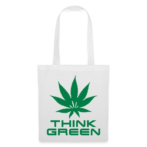 Think green, smoke weed! - Stoffbeutel