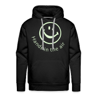 Hoodies & Sweatshirts ~ Men's Premium Hoodie ~ Hands in the Air Smiley Face. Glow in the dark
