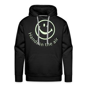 Hands in the Air Smiley Face. Glow in the dark - Men's Premium Hoodie
