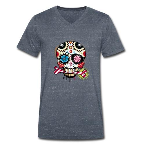 Candy Skull - Camiseta ecológica hombre con cuello de pico de Stanley & Stella