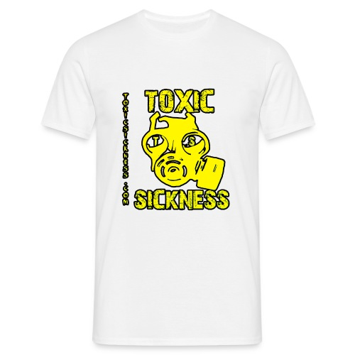 NEW Mens Yellow  Toxic Logo White t-shirt - Men's T-Shirt