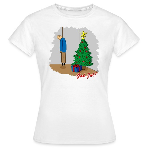 Trevlig jultröja - Ensam på julafton - Figursydd t-shirt - T-shirt dam