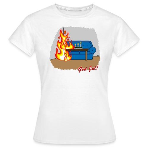 Trevlig jultröja - Glöm inte ljusen - Figursydd t-shirt - T-shirt dam