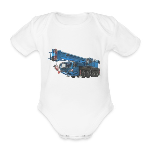 Mobile Crane 4-axle - Blue - Organic Short-sleeved Baby Bodysuit