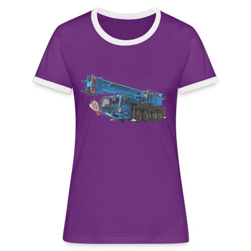 Mobile Crane 4-axle - Blue - Women's Ringer T-Shirt
