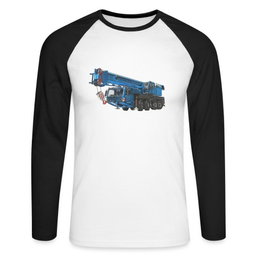 Mobile Crane 4-axle - Blue - Men's Long Sleeve Baseball T-Shirt