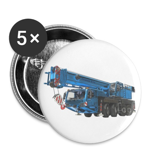 Mobile Crane 4-axle - Blue - Buttons small 1''/25 mm (5-pack)